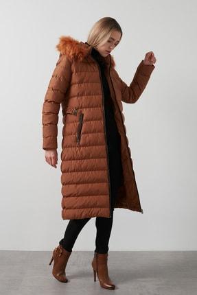 Lela Kadın Kahverengi Çıkarılabilir Tüylü Kapüşonlu Cepli Uzun Kaban 497fıruze