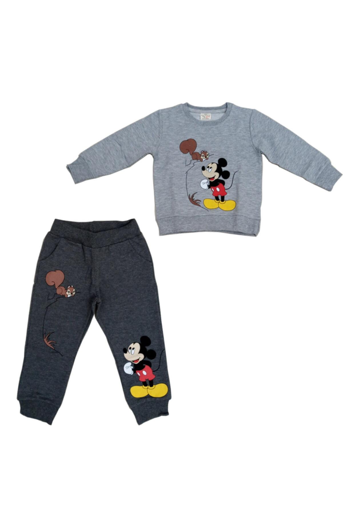 Disney Mickey Mouse Erkek Çocuk Gri Mickey Mouse Baskılı Takım 1