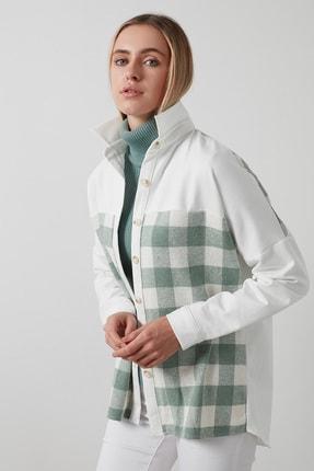 Lela Kadın Yeşil  Ekoseli Oversize Uzun Kollu Oduncu Gömlek