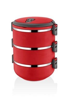 FreshBox Yeni Renk Kırmızı 3 Katlı Sızdırmaz Yemek Termosu Sefer Tası