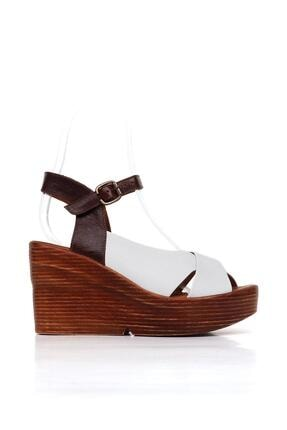 BUENO Shoes Hakiki Deri Kadın Dolgu Topuk Sandalet 20wq6102