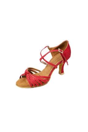 DANS AYAKKABISI Kadın Kırmızı Kısa Topuk Ayakkabı