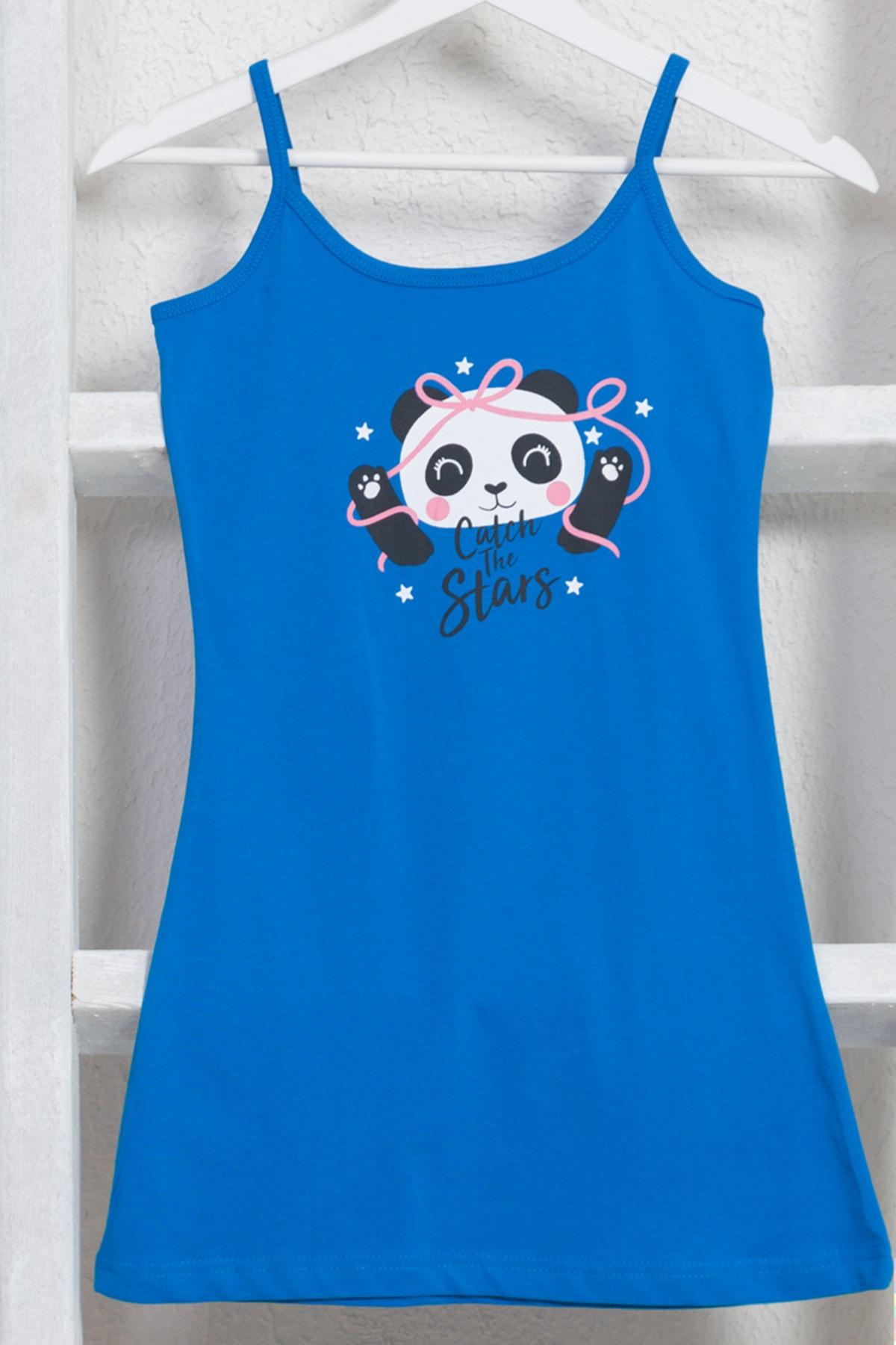 VİENETTA Kız Çocuk Mavi Pamuklu Gecelik 1