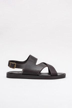 Elle Shoes JARO Hakiki Deri Kahverengi Erkek Sandalet