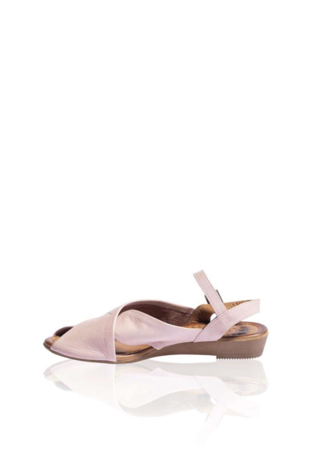 BUENO Shoes Kadın Gül Kurusu Kemerli Hakiki Deri Düz Sandalet 9n7211 1