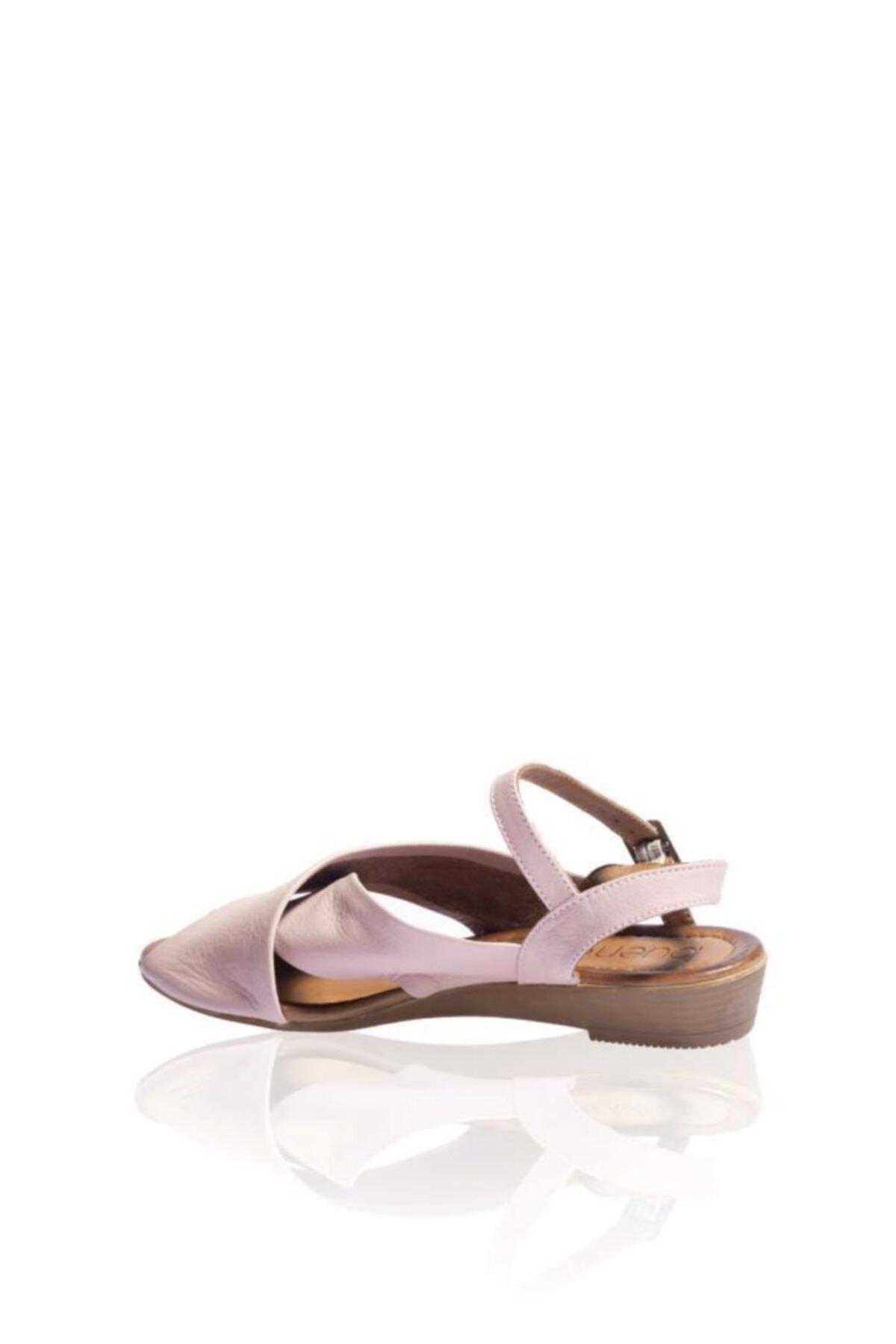 BUENO Shoes Kadın Gül Kurusu Kemerli Hakiki Deri Düz Sandalet 9n7211 2