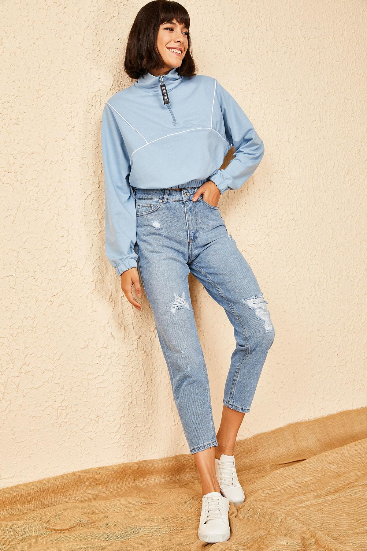 Bianco Lucci Kadın Mavi Yırtmaçlı Mom Pantolon 2