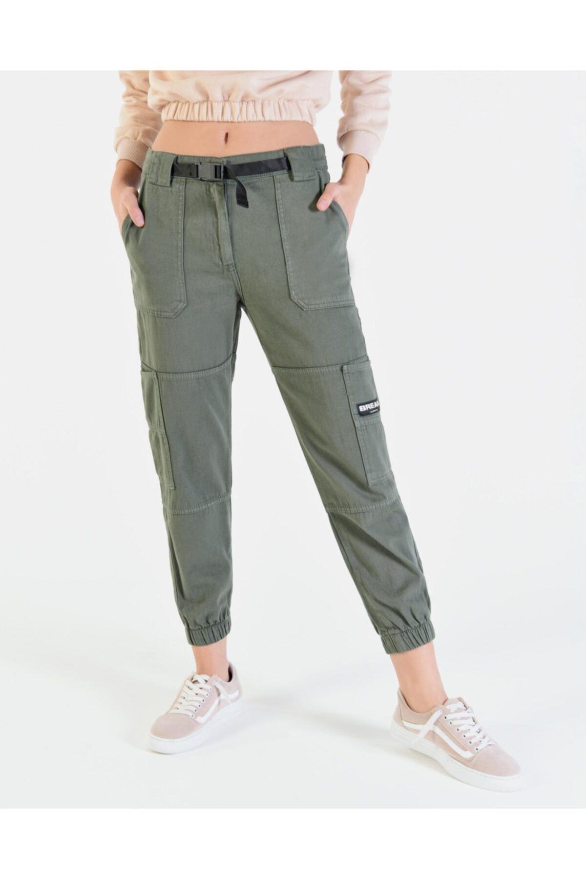 Vision Kadın Haki Cep Detaylı Kargo Pantolon 1