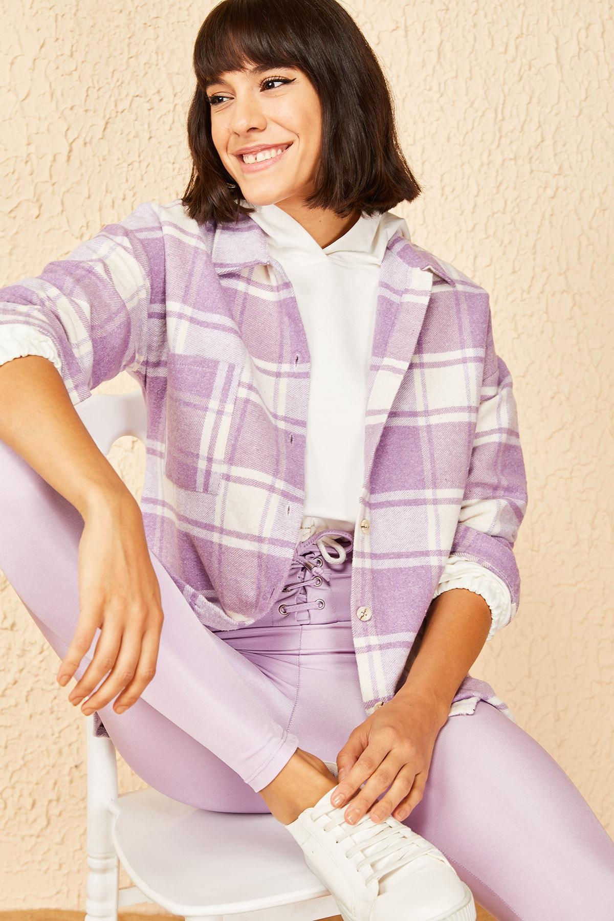 Bianco Lucci Kadın Lila Cepli Kaşe Oduncu Gömleği 2
