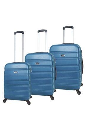 Fossil Mavi Sert Kabuk 3'lü Valiz Bavul Seti