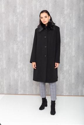 Concept. Kadın Siyah Gömlek Yaka Seyyar Kürklü Düğme Kapamalı Büyük Beden Kaban