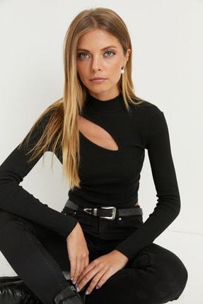 Cool & Sexy Kadın Siyah Çapraz Yaka Yarım Balıkçı Bluz B1404