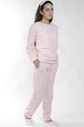 Pijamaevi Lazy Desenli Kadın Peluş Pijama Takımı