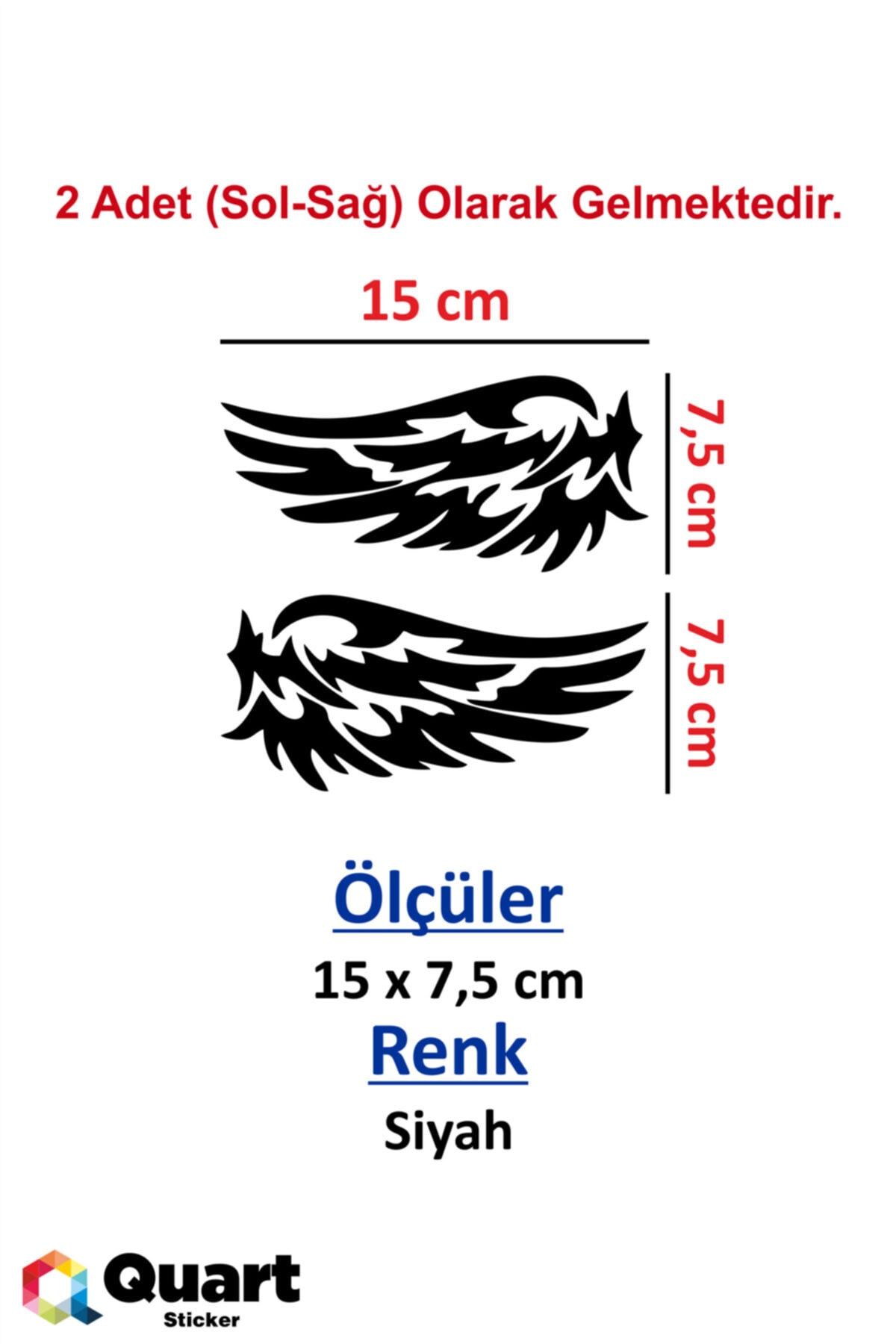 Quart Aksesuar 2 Adet Kanat Sticker, Oto Sticker Araba Sticker 15 Cm Siyah 2