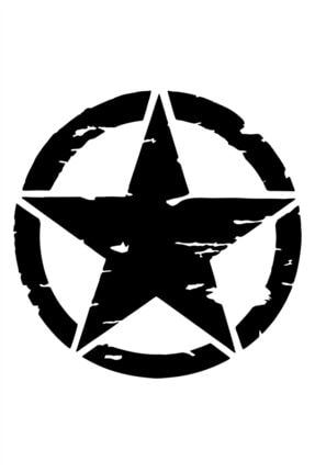 Quart Aksesuar 2 Adet Army Star, Askeri Yıldız Off Road Sticker Siyah 30 Cm