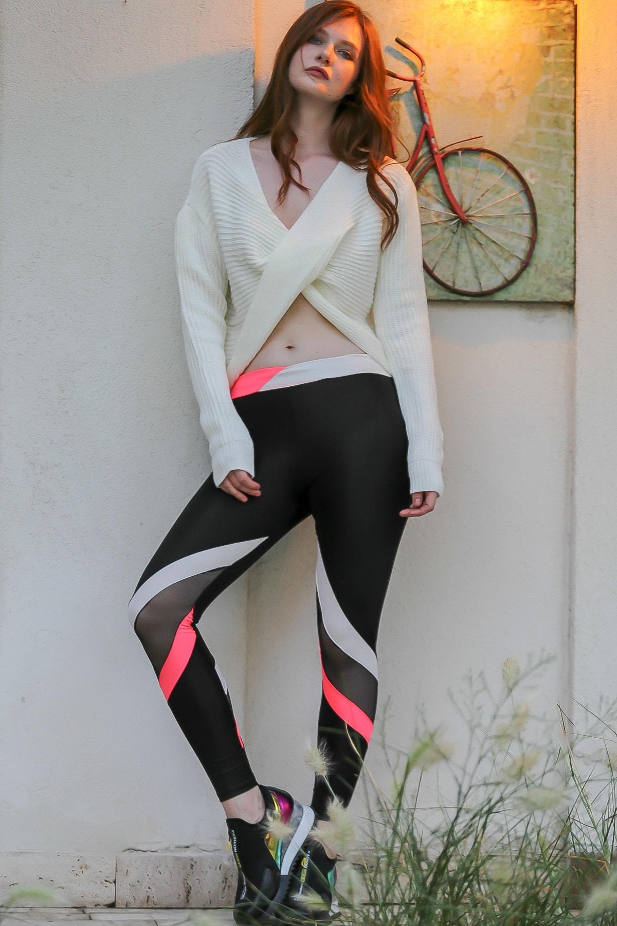 Chiccy Kadın Siyah Pembe beyaz bloklu mesh detaylı toparlayıcı spor tayt M10060000PN99066