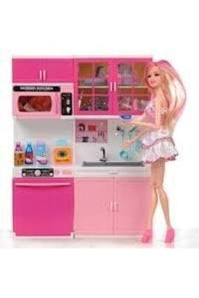 Happy Toys Hediyelik Eklemli Barbie Bebek Ve 2,li Mutfak Seti
