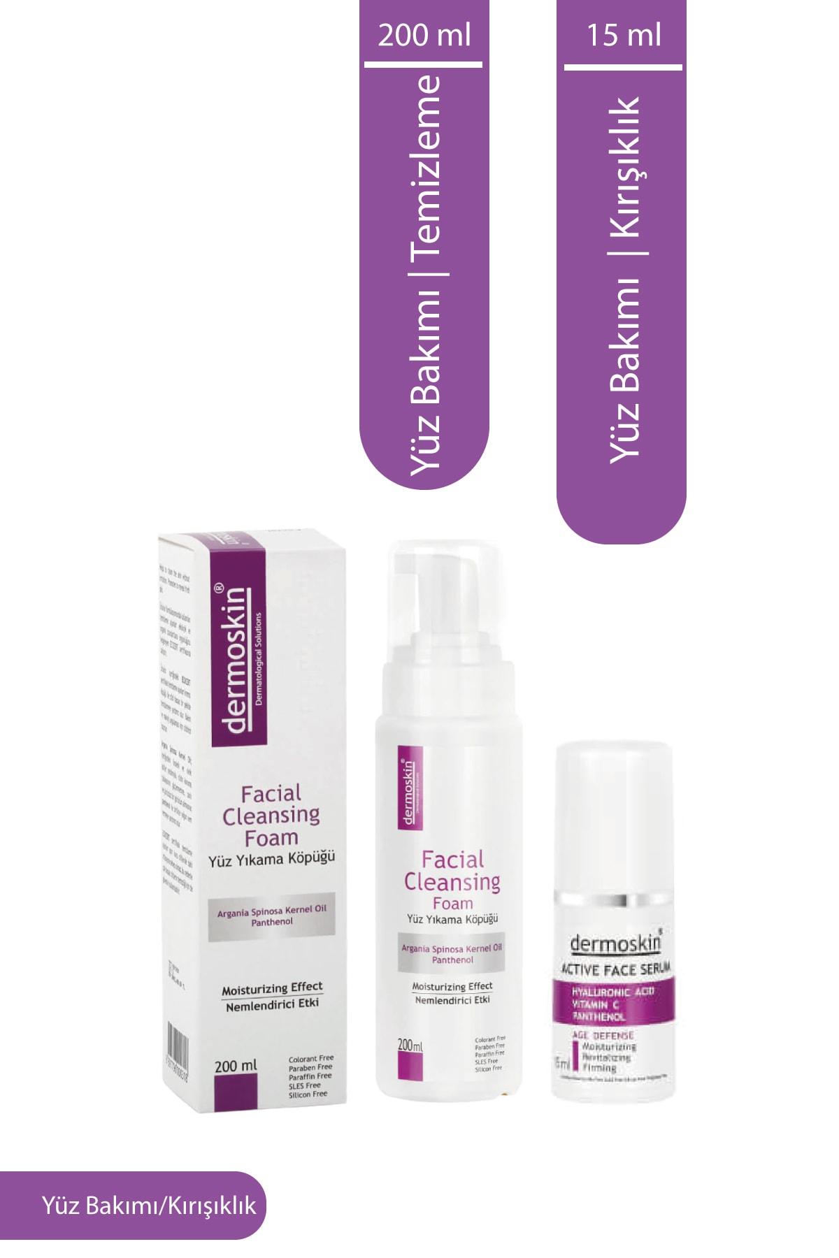 Dermoskin Yüz Temizleme Köpüğü 200 Ml + Active Face Serum 15 Ml 2'li Avantaj Paket 1