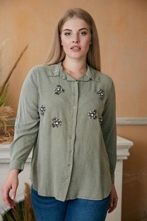 RMG Kadın Haki Taş Işlemeli Büyük Beden Gömlek