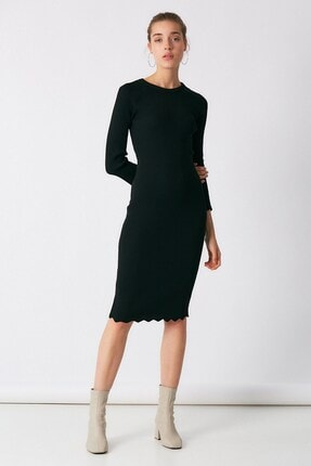 Robin Kadın Siyah Ince Triko Kalem Elbise