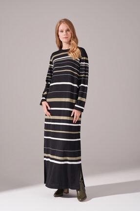 Mizalle Kadın Haki Çizgili Renkli Rayon Elbise