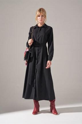 Mizalle Kadın Siyah Önden Düğmeli Elbise