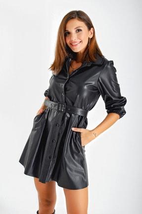 By Saygı Kadın Siyah Kemerli Cepli Deri Elbise S-21K1520001