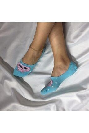 ADEL ÇORAP Kadın Turkuaz   Dikişsiz Silikonlu Babet Çorap