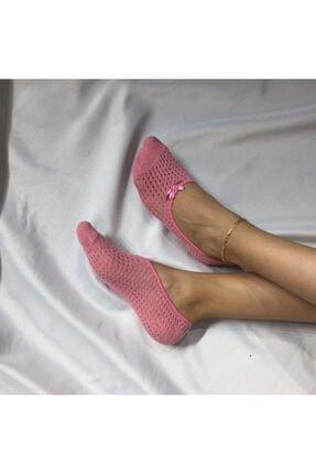 ADEL ÇORAP Kadın Pembe Delikli Penye Fiyonklu Babet Çorap