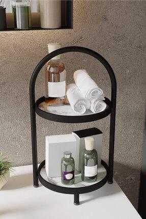 LİLLA HOME 2 Katlı Beyaz Mermer Desenli Kozmetik Takı Banyo Düzenleyici Organizeri