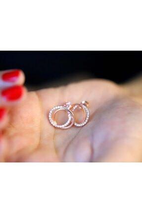 Midyat Gümüş Dünyası Kadın Pembe Gümüş Zirkon Taşlı Rose Kaplama Küpe 925 Ayar