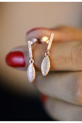 Midyat Gümüş Dünyası Kadın Rose 925 Ayar Gümüş Zirkon Taşlı Küpe