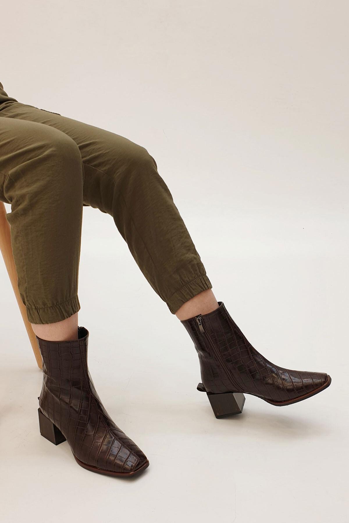 SAYEN Kadın Kahve Croco Topuklu Bot 2