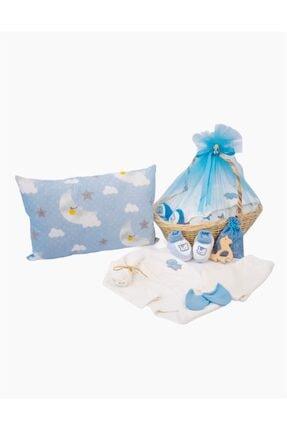 Sisters Shop Erkek Bebek Mavi Yeni Doğan Lavanta Kokulu Yastıklı Hediye Sepeti