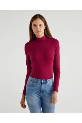 United Colors of Benetton Kadın Bordo Boğazlı Tshirt