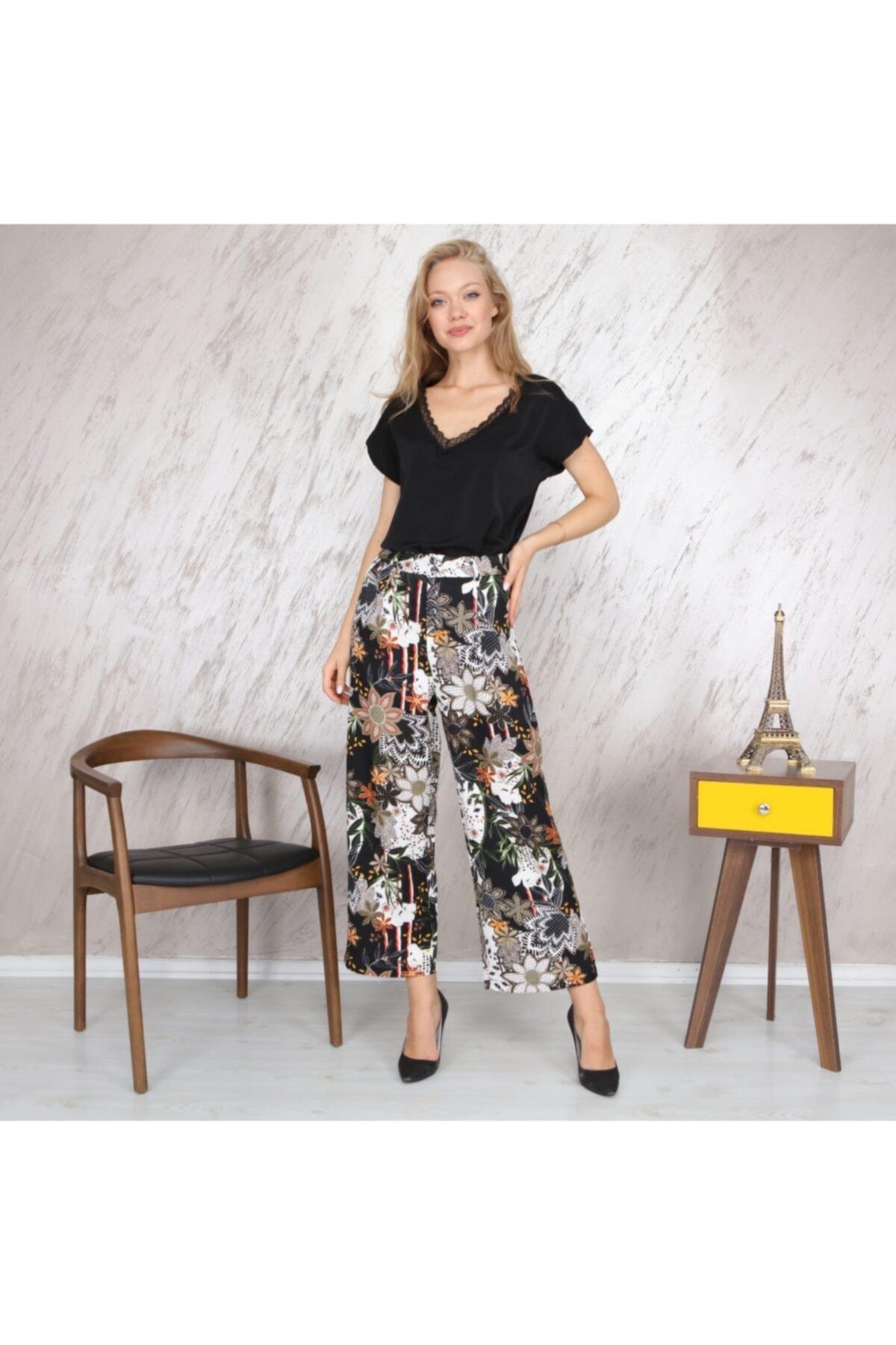 KOZAMODA Kadın Siyah Çiçek Desenli Bol Paça Pantolon 1