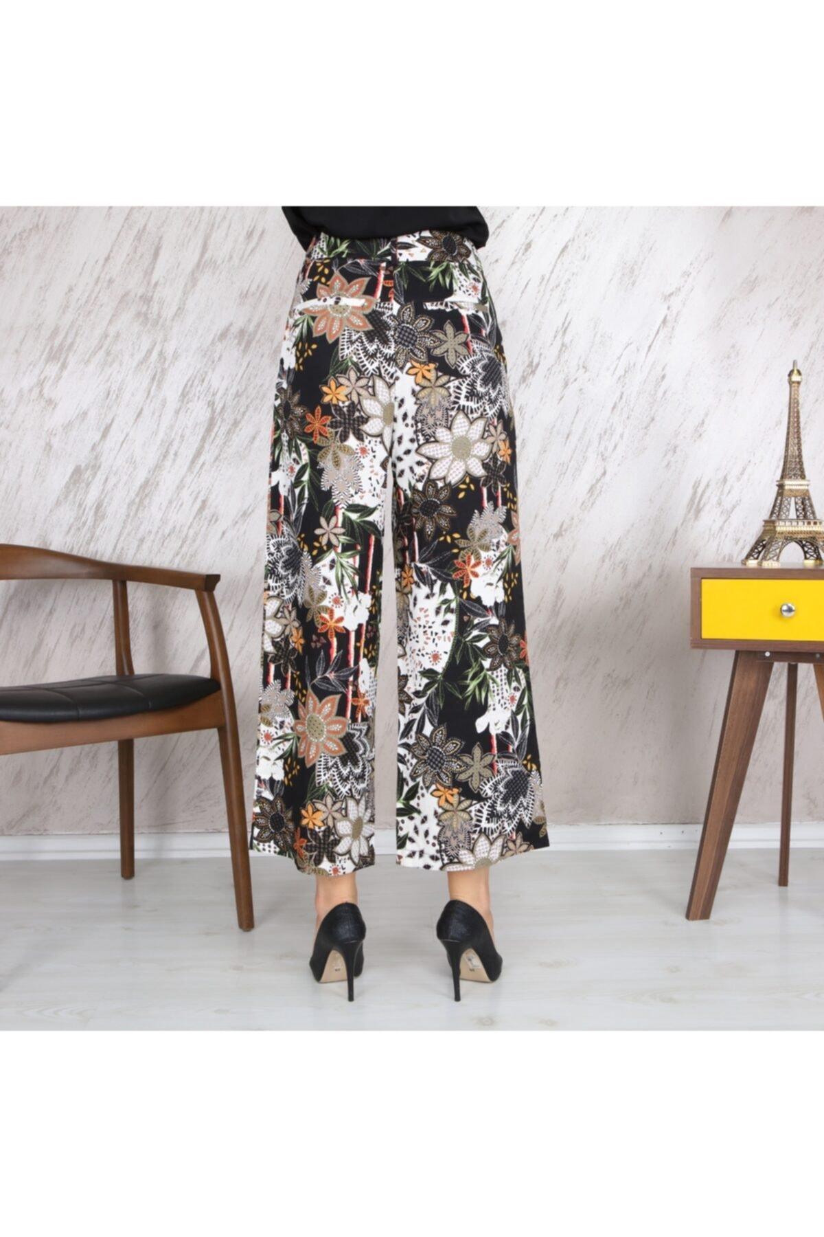 KOZAMODA Kadın Siyah Çiçek Desenli Bol Paça Pantolon 2