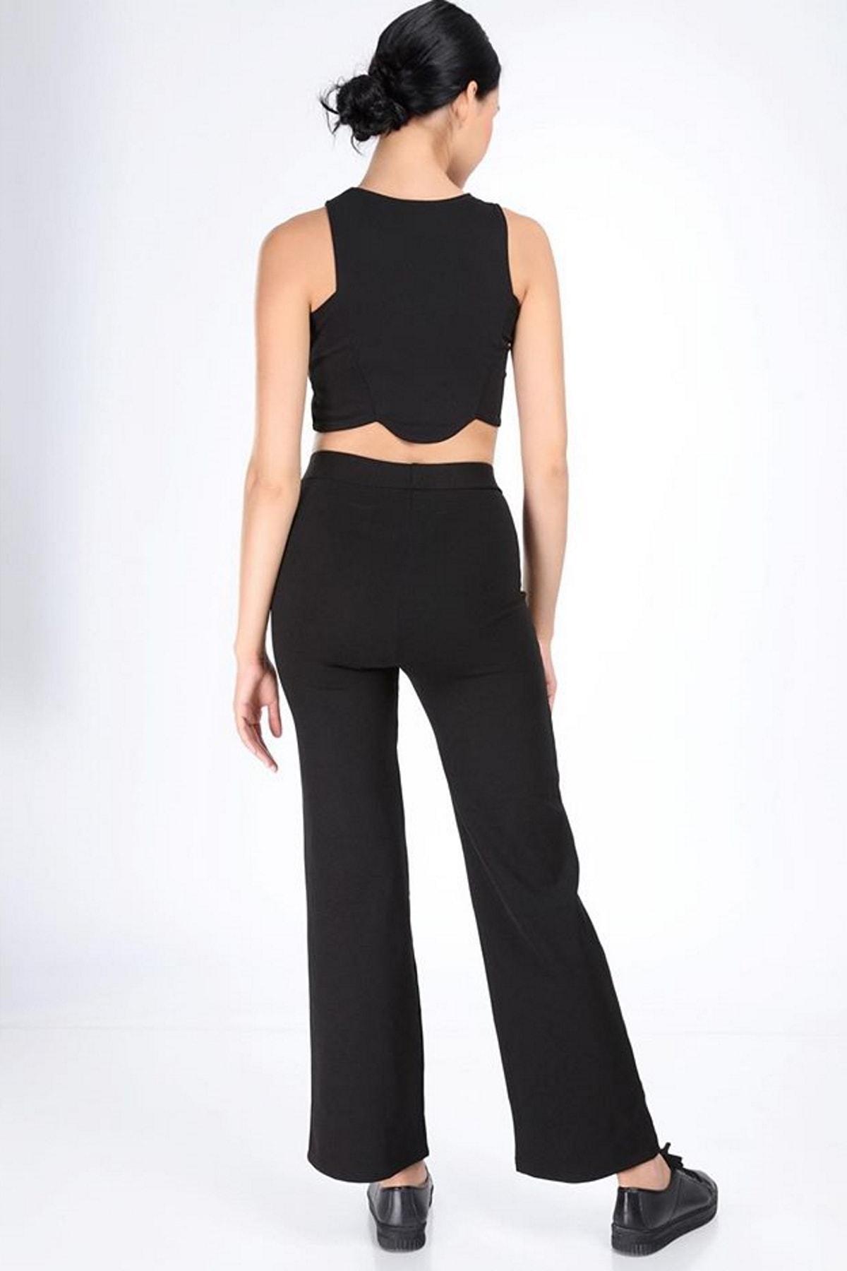 Hane14 Kadın Siyah Bol Paça Çelik Örme Toparlayıcı Pantolon   144013 2