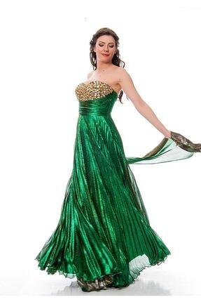 Modayız Kadın Yeşil Yanar Döner Kumaş Taş Detaylı Elbise J9-115083