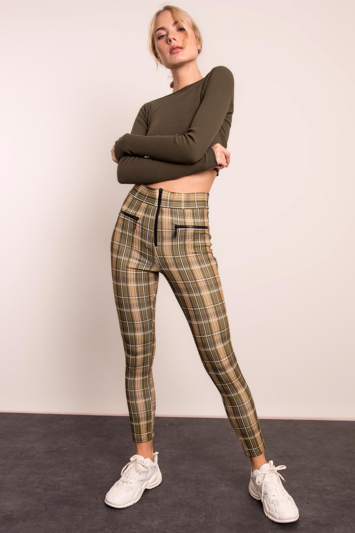 BSL Kadın Haki Yüksek Bel Fermuar Detaylı Dar Paça Pantolon 2