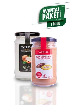 Wefood Organik Hindistan Cevizi Yağı 300 ml + Ham Kakao Tozu 140 gr.