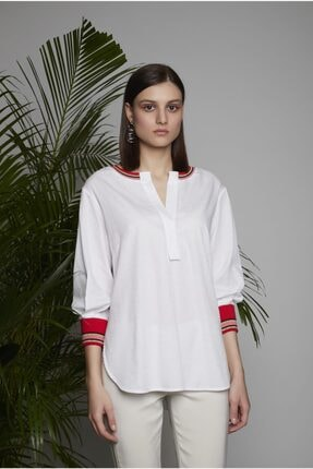 Arzu Kaprol Kadın Beyaz Manşet ve Yaka Ribanalı Simli Bluz