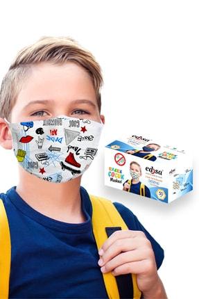 EDSA 3-14 Yaş Erkek Çocuk 3 Katlı Meltblownlu Desenli Telli Tek Kullanımlık Koruyucu Yüz Maskesi