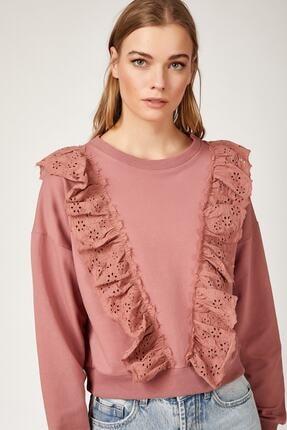Bigdart Kadın Pembe Volan Gübür Detaylı Crop Sweat Bluz 4119
