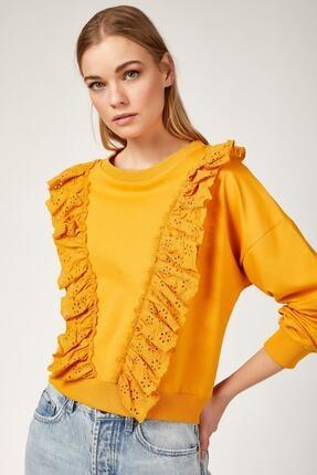 Bigdart Kadın Sarı Volan Gübür Detaylı Crop Sweat Bluz 4119