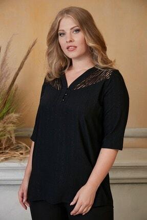 RMG Kadın Siyah Pul Payet Detaylı Büyük Beden Bluz