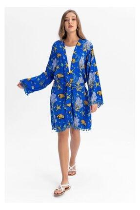 TIFFANY&TOMATO Kadın Mavi Kimono