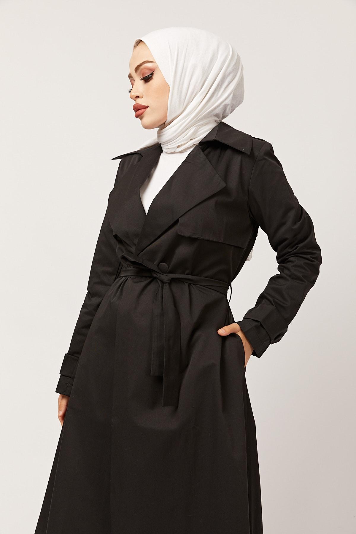 festmoda Kadın Siyah Kuşaklı Trençkot 1