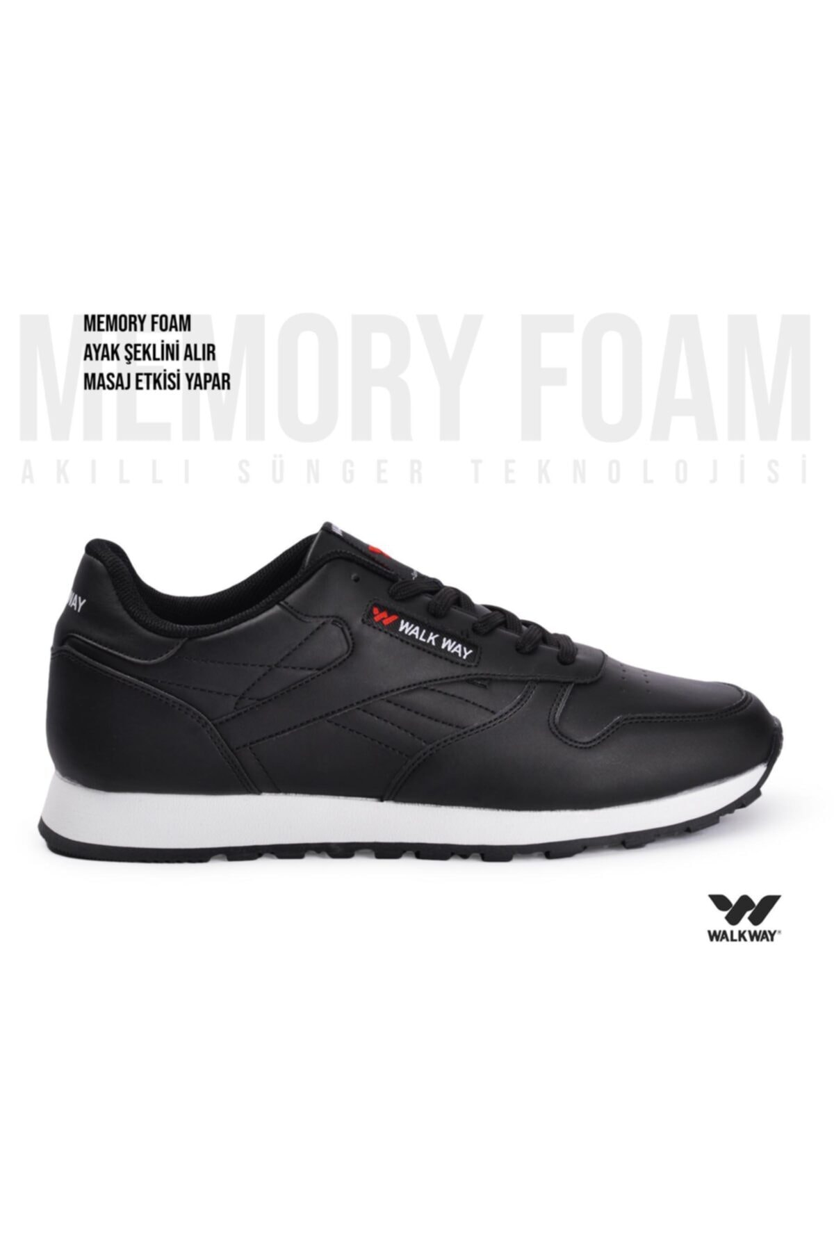 WALKWAY Memory Foam Siyah Beyaz Erkek Spor Ayakkabı Wlk23602 2
