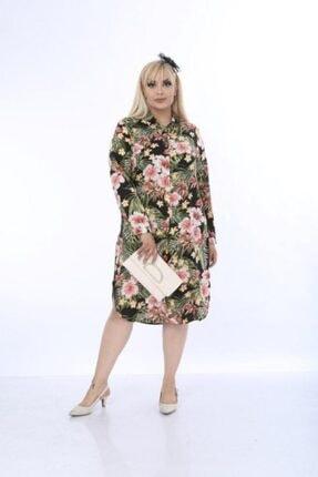 MAYAXL Kadın Çiçek Desenli Büyük Beden Gömlek